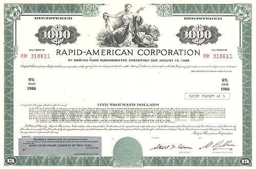 Rapid-American Corporation historic stocks - old certificates