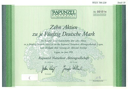 Rapunzel Naturkost Aktiengesellschaft historic stocks - old certificates