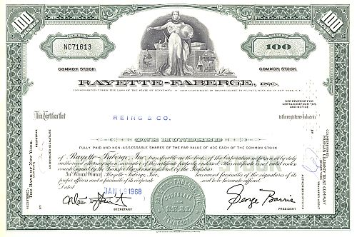 Rayette-Faberge, Inc. historic stocks - old certificates