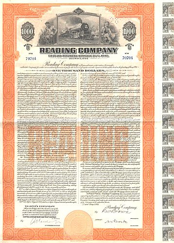 Reading Company historic stocks - old certificates