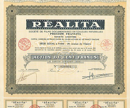 REALITA Société de Films Documentaires en Couleurs Naturelles (Procédés Francita) -  historic stocks - old certificates Media and Film