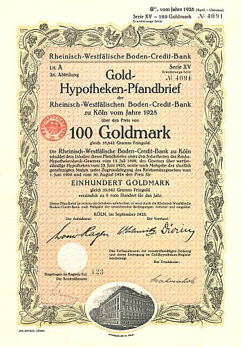 Rheinisch-Westfälische Boden-Credit-Bank historic stocks - old certificates