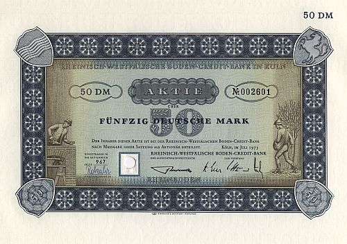 Rheinisch-Westfälische Boden-Credit-Bank in Köln historic stocks - old certificates