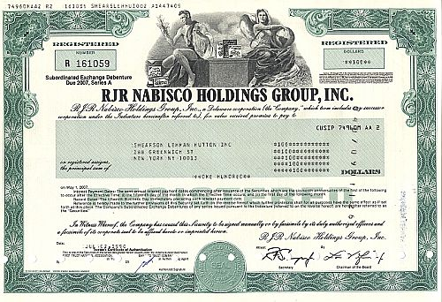 RJR Nabisco Holdings Group Inc. historic stocks - old certificates