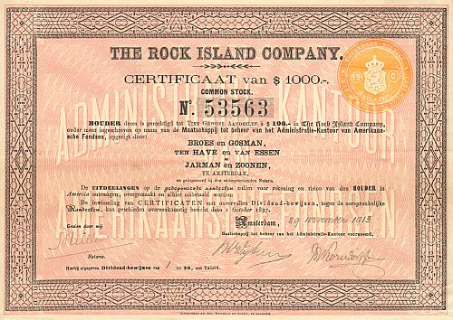 Rock Island Company  historic stocks - old certificates