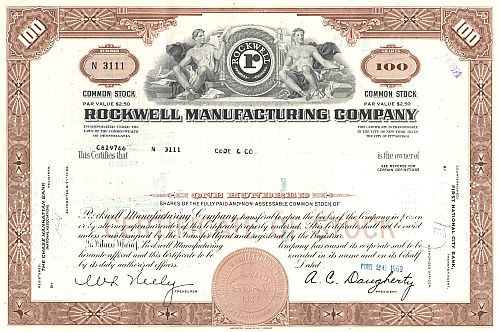 Rockwell Manufacturing Company historic stocks - old certificates