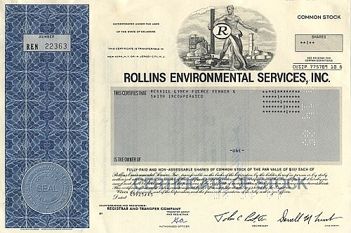 Rollins Environmental Services historic stocks - old certificates