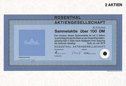 Rosenthal Aktiengesellschaft (100.-DM) historic stocks - old certificates