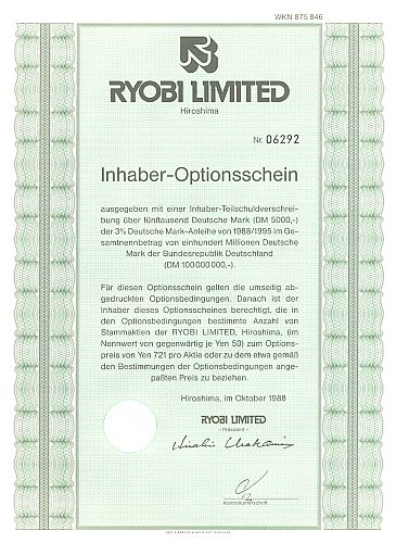 Ryobi Limited historic stocks - old certificates