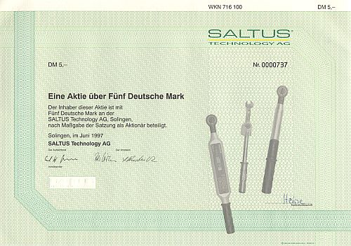 Saltus Technology AG historic stocks - old certificates