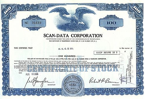 Scan-Data Corporation historische Wertpapiere - alte Aktien