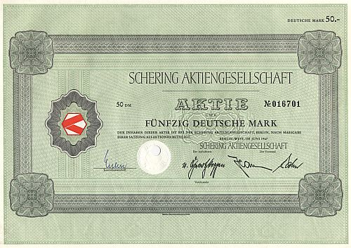 Schering Aktiengesellschaft historic stocks - old certificates