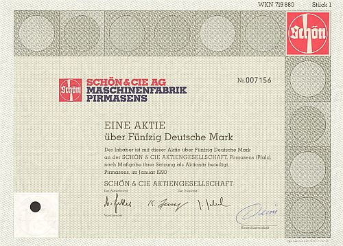 Schön & Cie AG Maschinenfabrik Pirmasens historic stocks - old certificates
