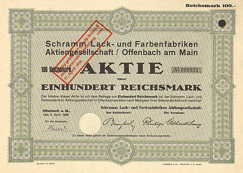 Schramm Lack- und Farbenfabriken Aktiengesellschaft / Offenbach am Main -  historic stocks - old certificates Oil and Chemicals