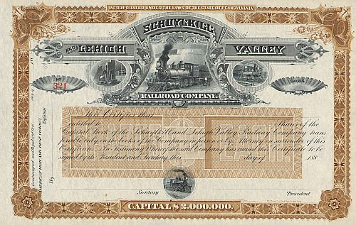 Schuylkill and Lehigh Valley Railroad Company  historic stocks - old certificates