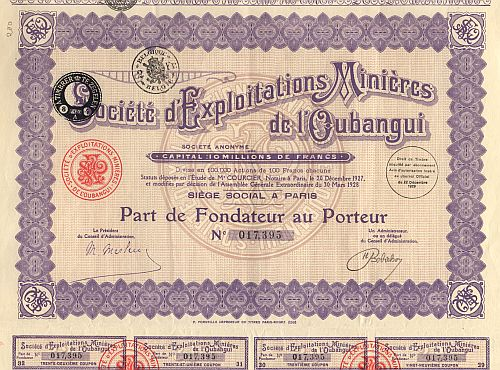 Societe d' Exploitations Minieres de l'Oubangui historic stocks - old certificates