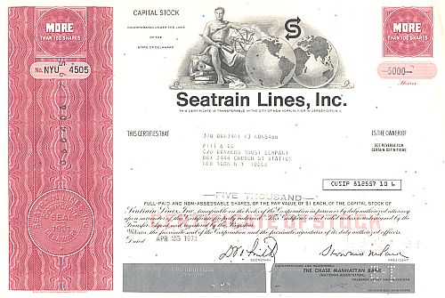 Seatrain Lines, Inc. historic stocks - old certificates