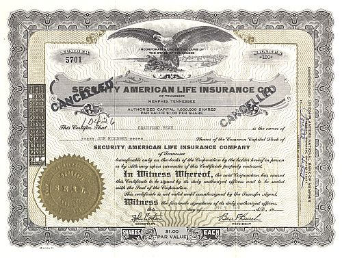 Security American Life Insurance historic stocks - old certificates