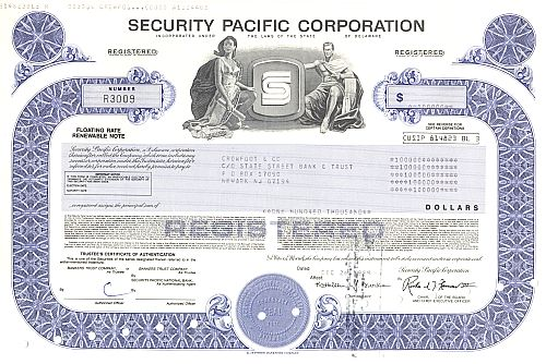 Security Pacific Corporation historische Wertpapiere - alte Aktien
