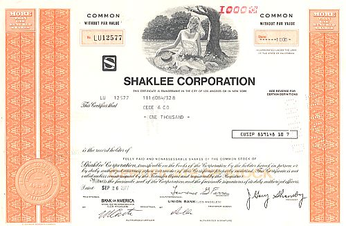 Shaklee Corporation historic stocks - old certificates