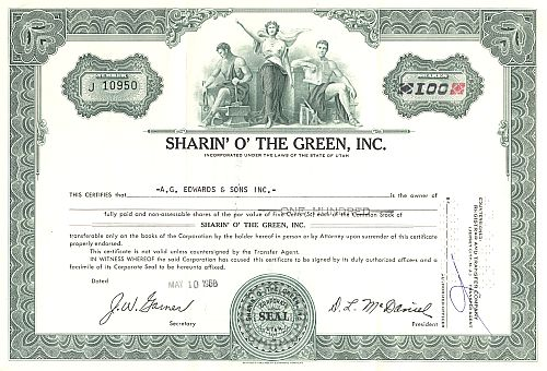 Sharin' O' The Green, Inc. historic stocks - old certificates