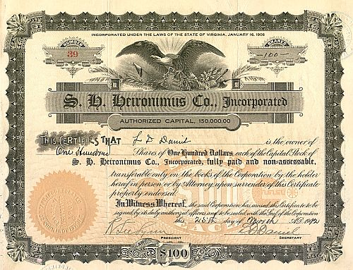 S. H. Heironimus Co. historic stocks - old certificates