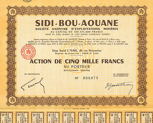 Sidi-Bou-Aouane historic stocks - old certificates