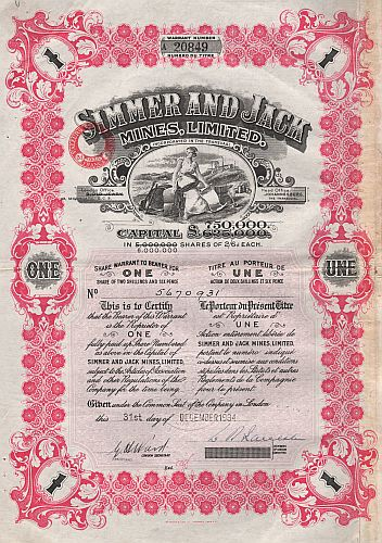 Simmer and Jack Mines, Limited historic stocks - old certificates