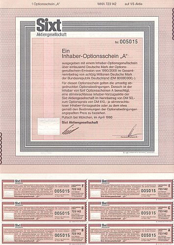 Sixt -A- Optionsschein historic stocks - old certificates