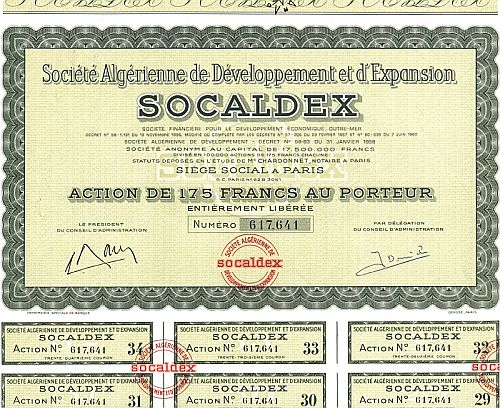 Socaldex ( Societe Algerienne de Developpement et d'Expansion) historic stocks - old certificates