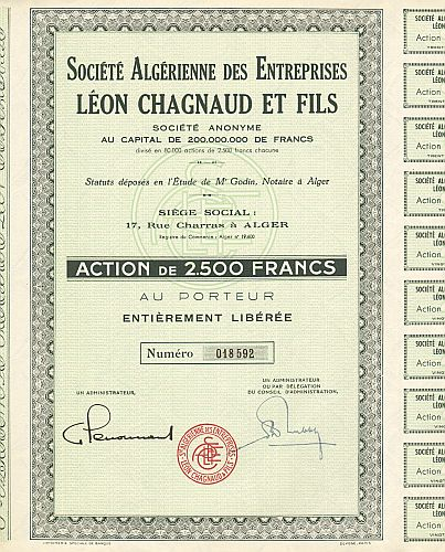 Societe Algerienne des Entreprises Leon Chagnaud et Fils historic stocks - old certificates