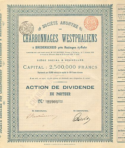 Societe Anonyme Charbonnages Westphaliens (Westfälische Kohlenwerke AG) historic stocks - old certificates