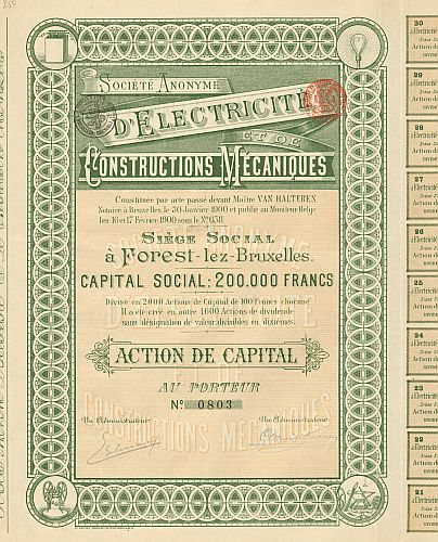 Societe Anonyme d'Electricite et de Constructions Mecaniques historic stocks - old certificates