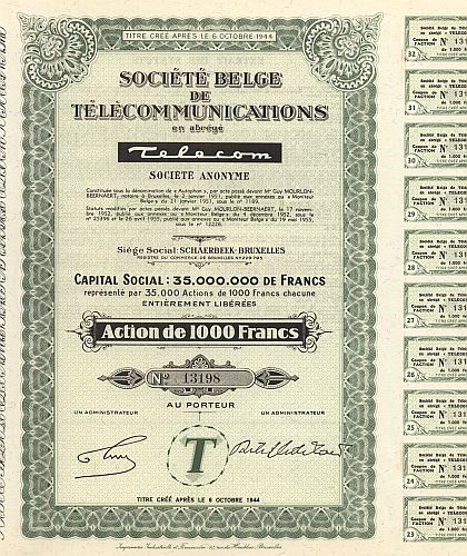 Societe Belge de Telecommunications TELECOM historic stocks - old certificates