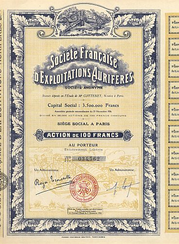 Societe Francaise d' Exploitation Auriferes historic stocks - old certificates