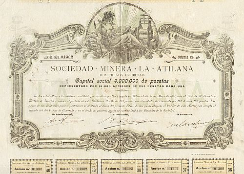 Sociedad Minera La Atilana -  historic stocks - old certificates Mining