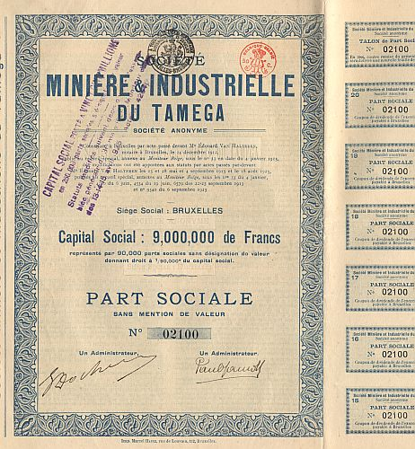 Societe Miniere & Industrielle du Tamega (1923) historic stocks - old certificates
