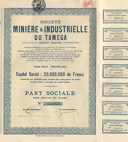 Societe Miniere & Industrielle du Tamega (1925) historic stocks - old certificates
