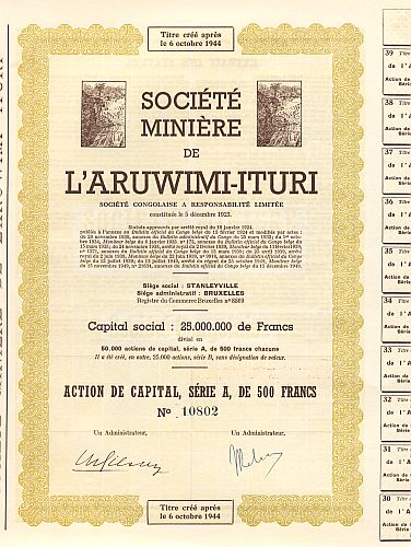 Societe Miniere de L'Aruwimi-Ituri historic stocks - old certificates