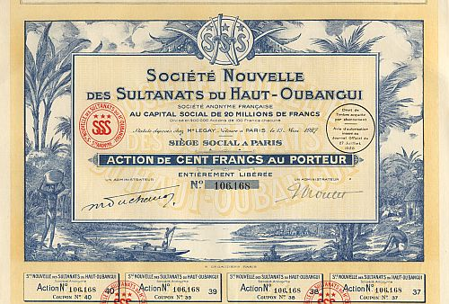 Societe Nouvelle des Sultanats du Haut - Oubangui historic stocks - old certificates