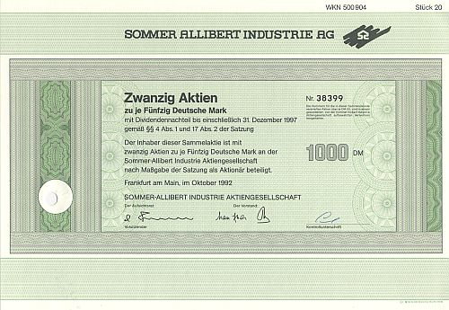 Sommer Allibert Industrie AG 1992 historic stocks - old certificates