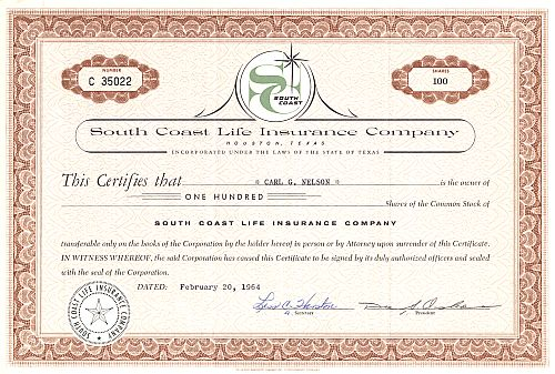 South Coast Life Insurance Company historic stocks - old certificates