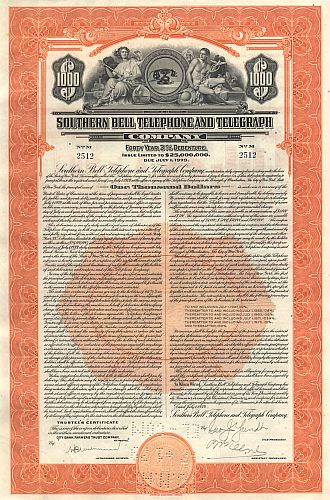 Southern Bell Telephone and Telegraph Company historic stocks - old certificates