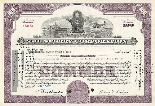Sperry Corporation historic stocks - old certificates