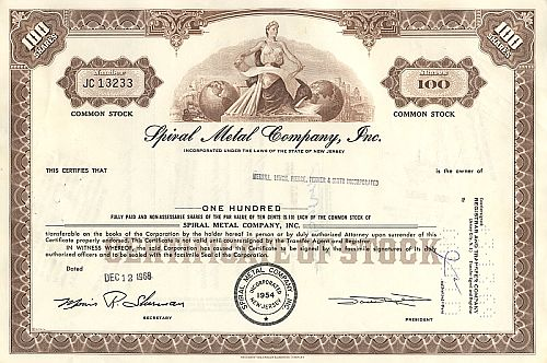 Spiral Metal Company Inc. historic stocks - old certificates