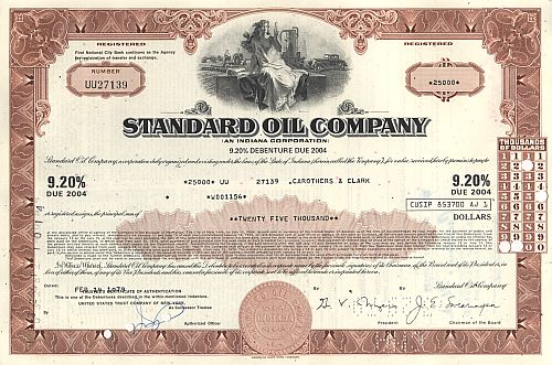 Standard Oil Company historic stocks - old certificates