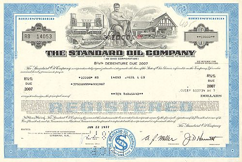 Standard Oil Company of Ohio historic stocks - old certificates