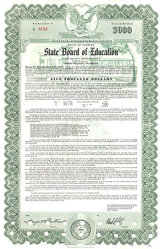 State Board of Education historic stocks - old certificates