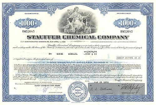 Stauffer Chemical Company historic stocks - old certificates