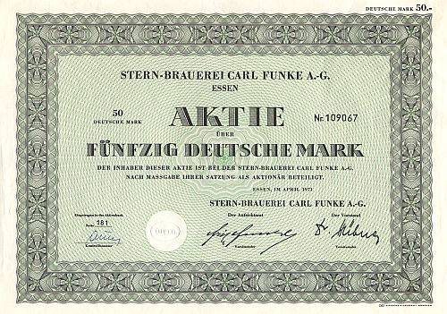Stern Brauerei Carl Funke A.-G. (1971) historic stocks - old certificates